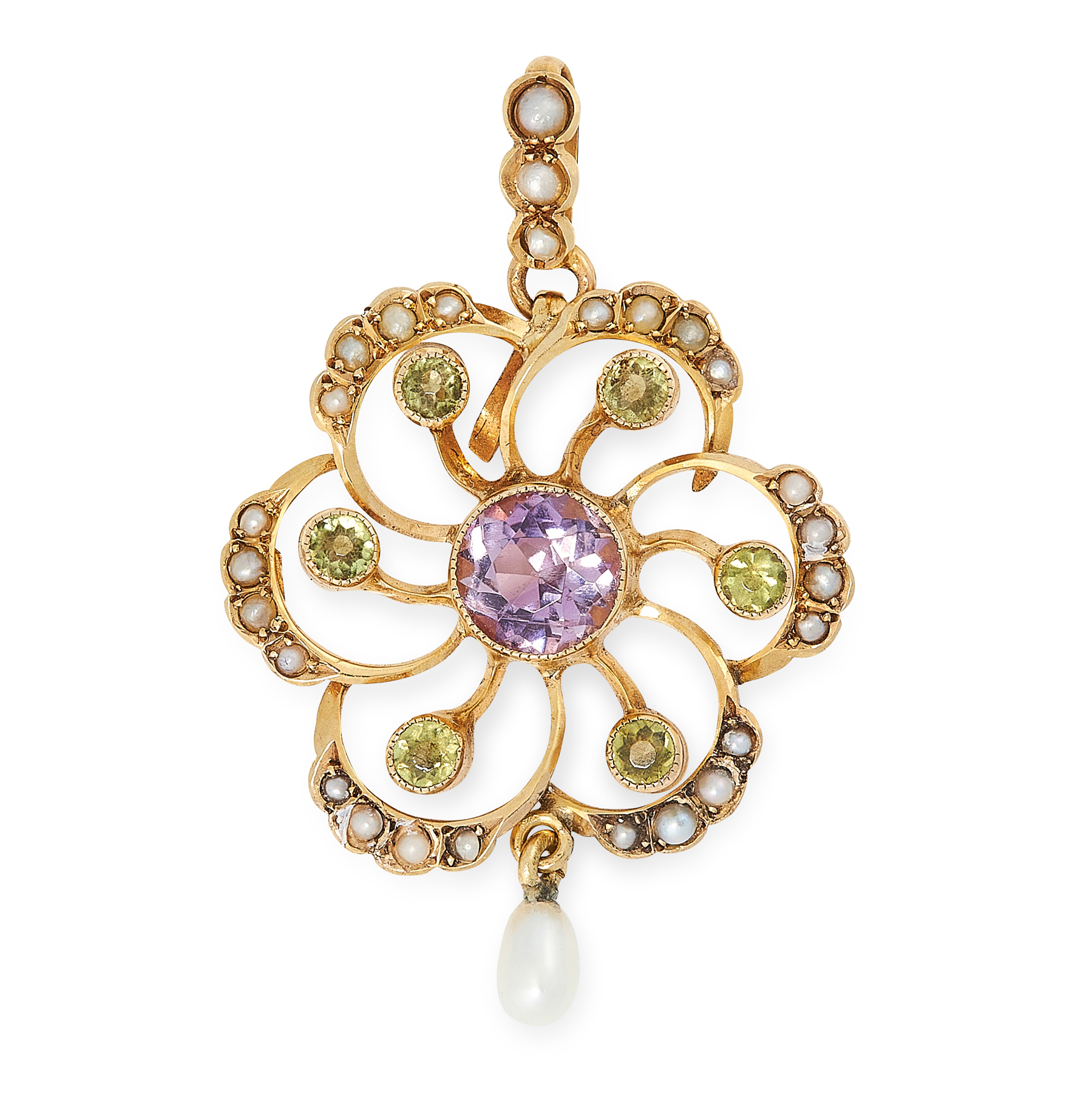 AN ANTIQUE AMETHYST, PERIDOT AND PEARL SUFFRAGETTE PENDANT in 9ct yellow gold, set with a round
