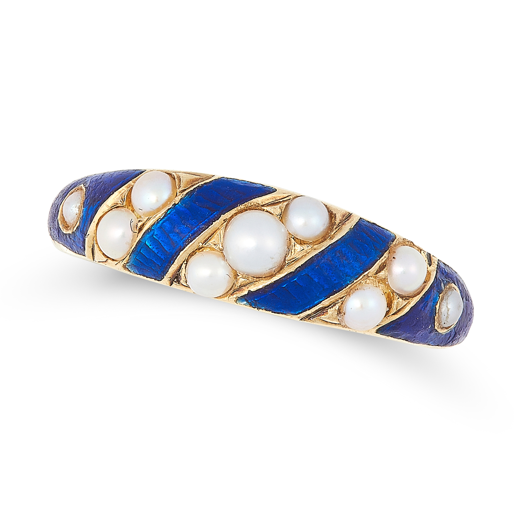 AN ANTIQUE VICTORIAN PEARL AND ENAMEL DRESS RING in high carat yellow gold, the graduated band set