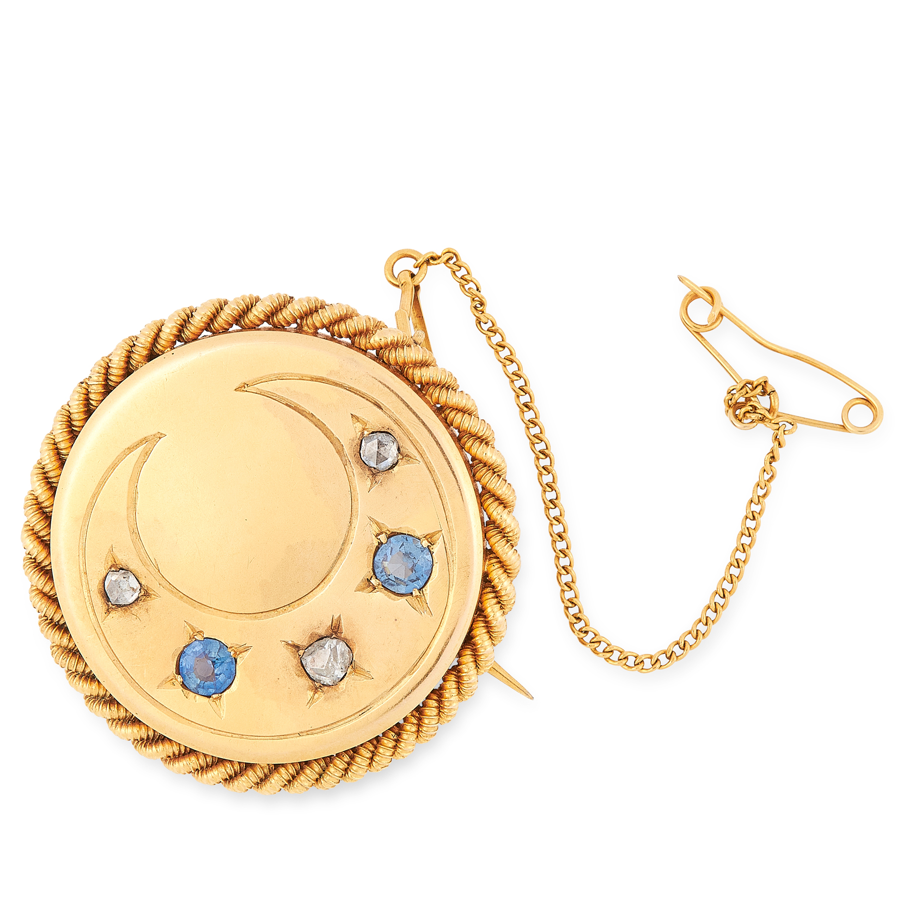 AN ANTIQUE SAPPHIRE AND DIAMOND CRESCENT BROOCH in 15ct yellow gold, of circular design with rope