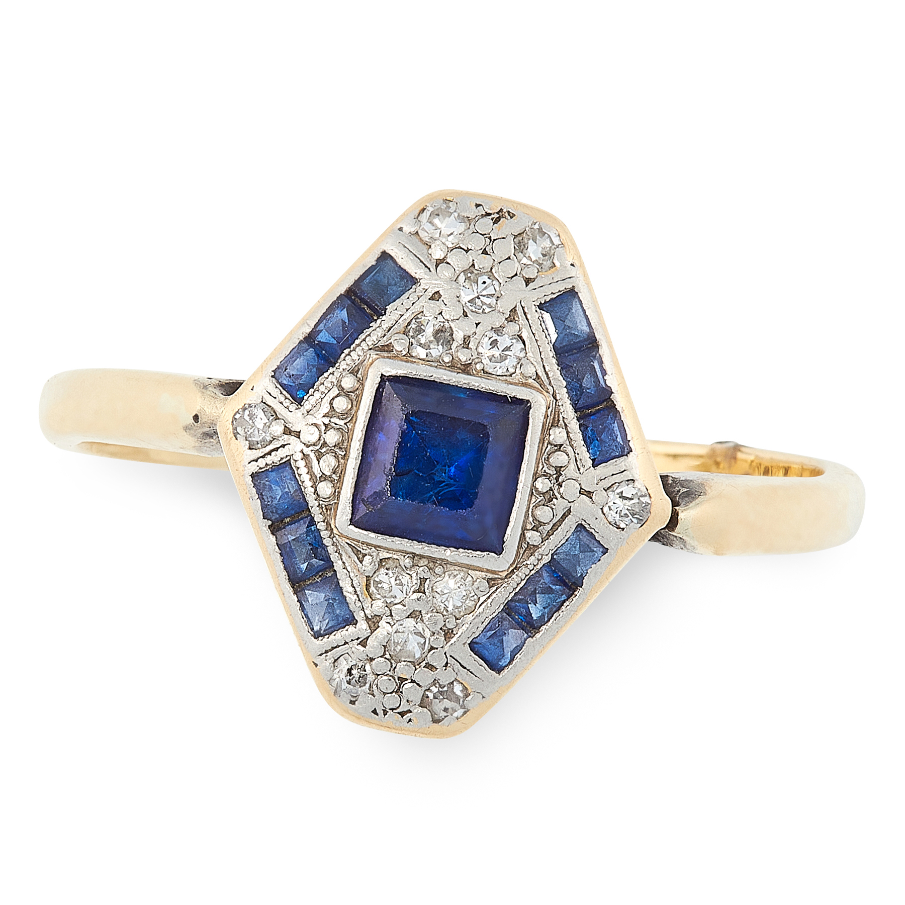 AN ART DECO SAPPHIRE AND DIAMOND RING in 18ct yellow gold and platinum, the hexagonal face set