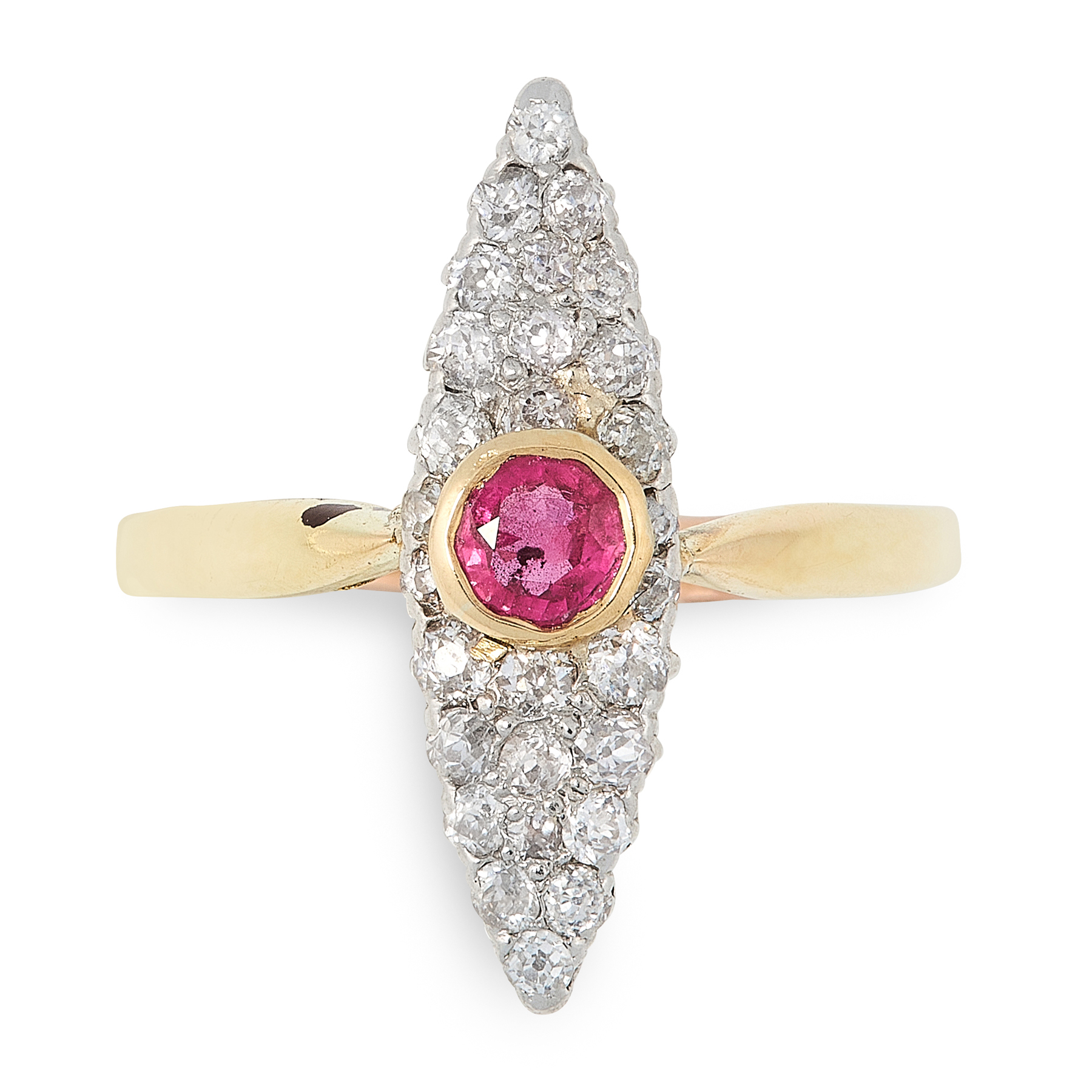A RUBY AND DIAMOND DRESS RING in 18ct yellow gold, the marquise shaped face set with a cushion cut