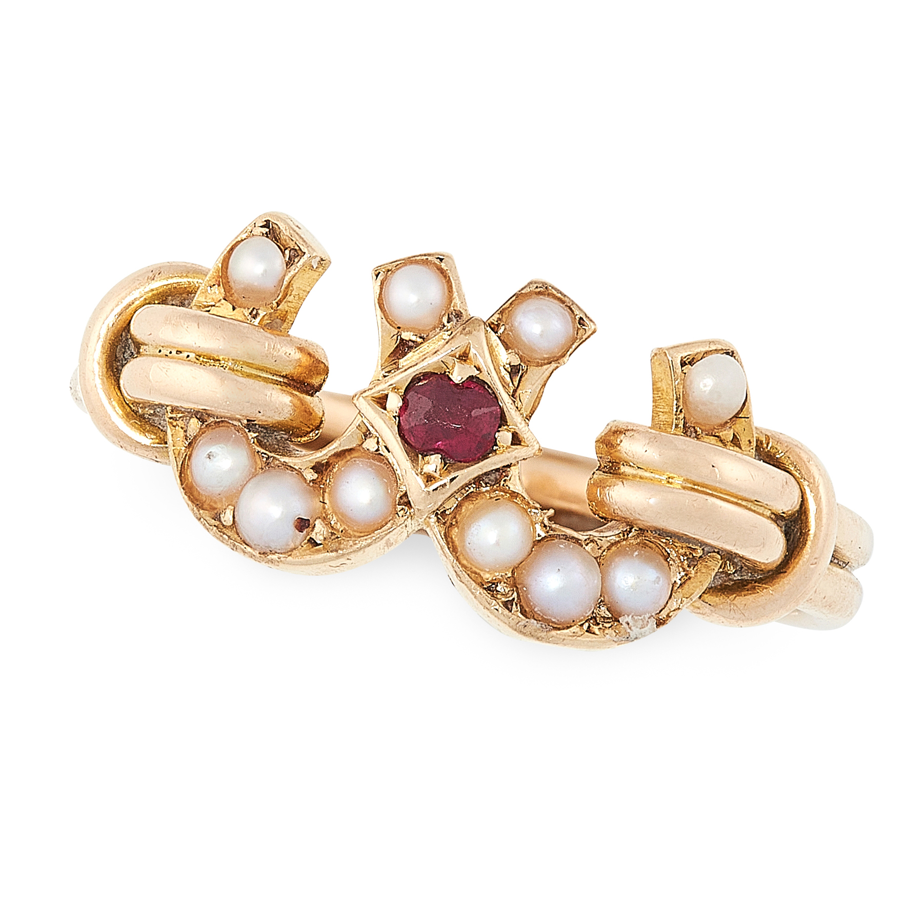 AN ANTIQUE VICTORIAN GARNET AND PEARL RING in 15ct yellow gold, designed as two interlinked