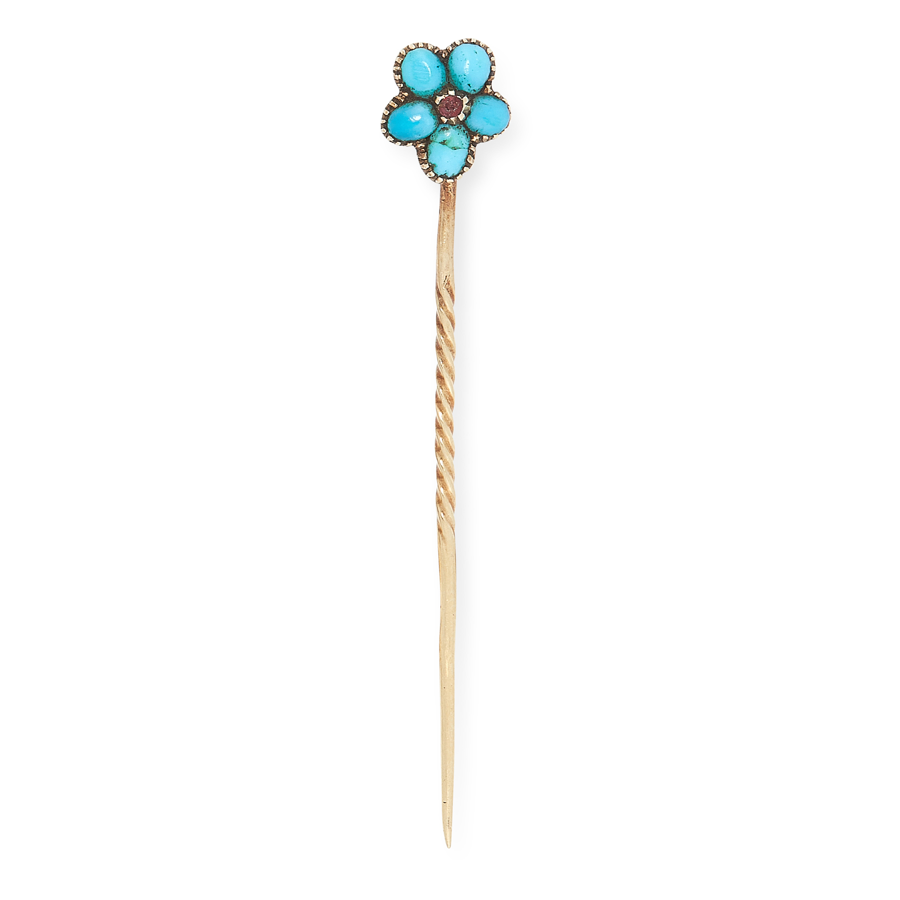 AN ANTIQUE TURQUOISE AND RUBY FORGET-ME-NOT TIE PIN in yellow gold, the stick pin set with a