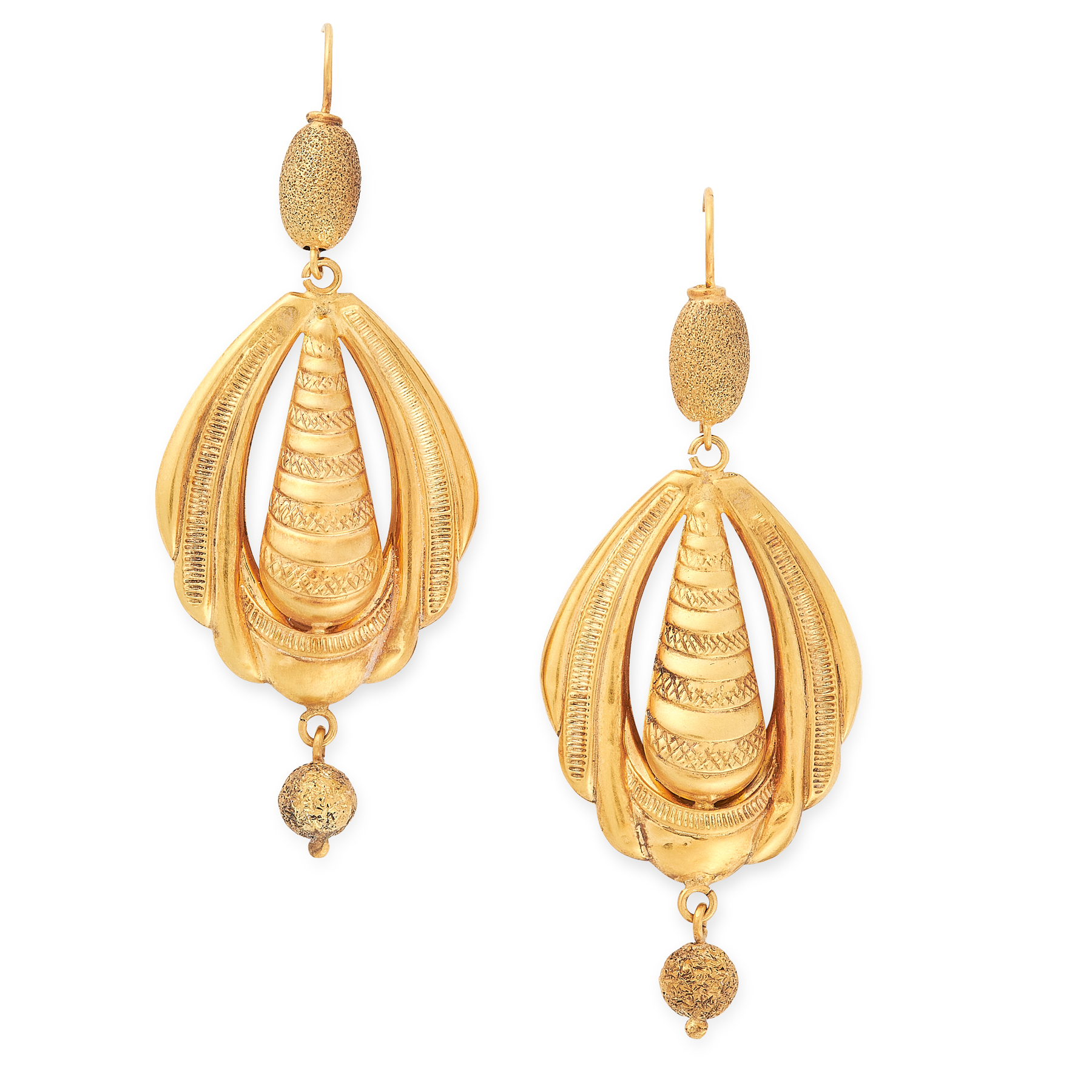 A PAIR OF ANTIQUE DROP EARRINGS in yellow gold, the articulated bodies of each formed of textured