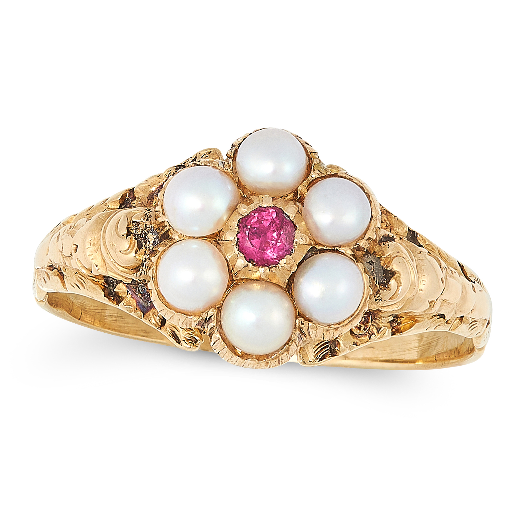 A RUBY, PEARL AND HAIRWORK MOURNING RING, 19TH CENTURY in 15ct yellow gold, set with a round cut