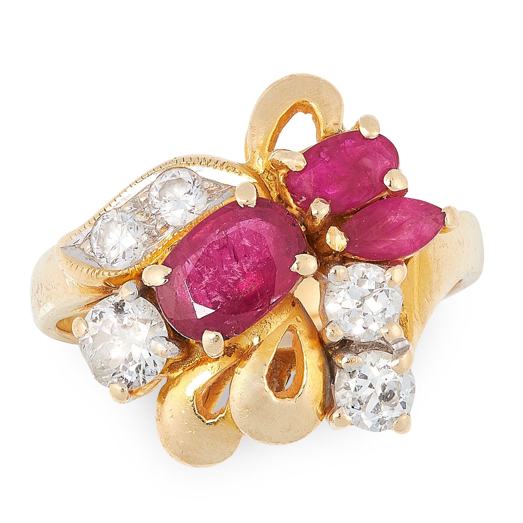 A RUBY AND DIAMOND DRESS RING in 18ct yellow gold, designed as a ribbon and bow motif, set with oval