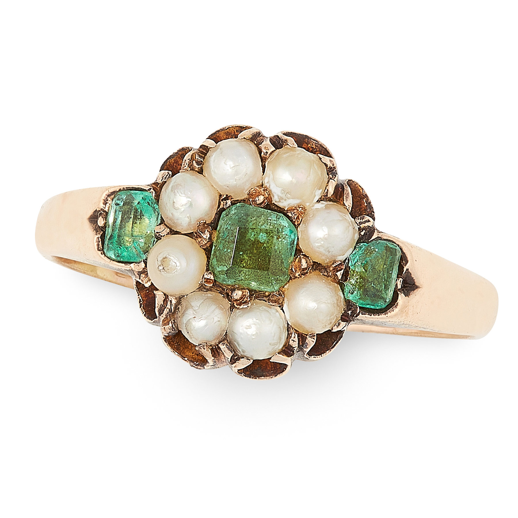 AN ANTIQUE EMERALD AND PEARL RING set with a trio of step cut emeralds accented by a border of