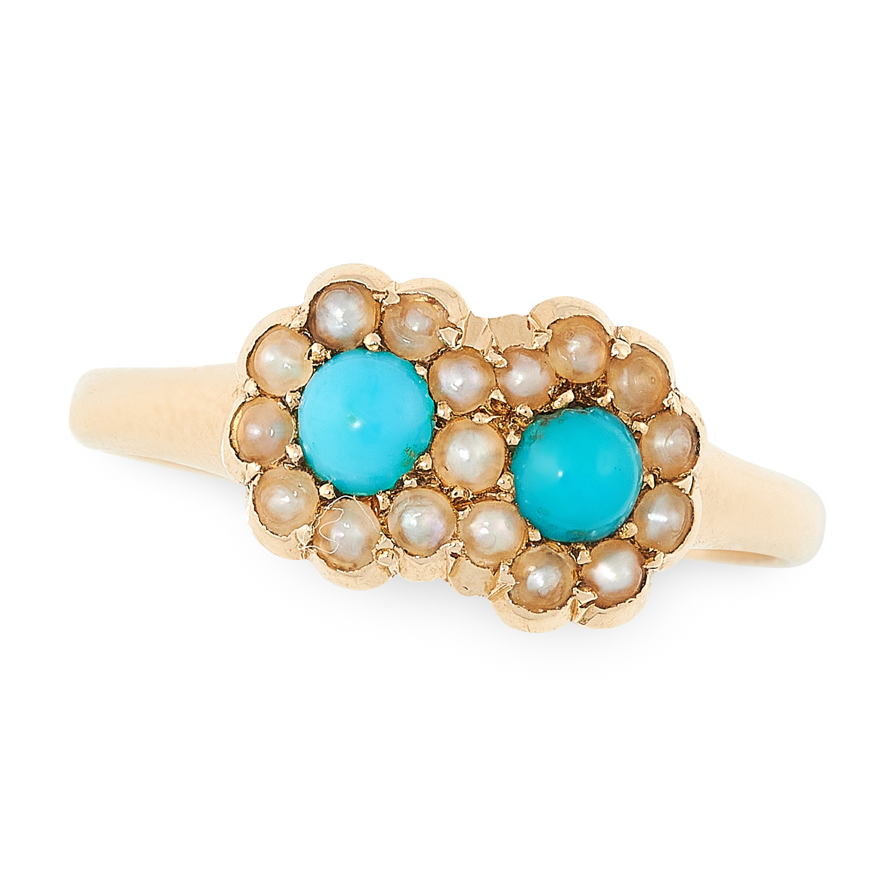 AN ANTIQUE VICTORIAN TURQUOISE AND PEARL DRESS RING in 18ct yellow gold set with two clusters of