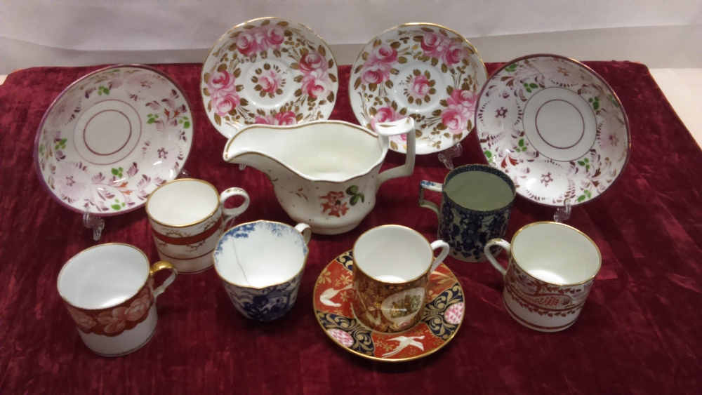 Lot 50 - An assortment of 18th Century/19th Century coffee cans and saucers.