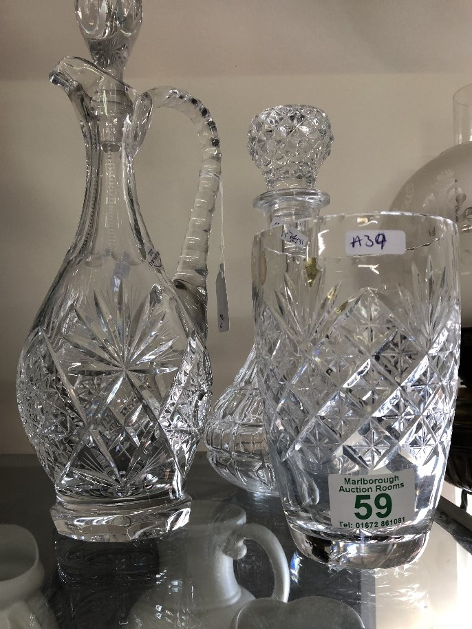 Lot 59 - A Webb Crystal vase together with a decanter and Edinburgh Continental decanter ewer.
