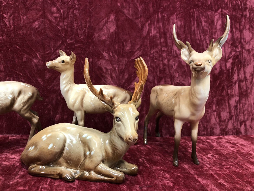 Lot 4 - Six Beswick stags, does and fawns.