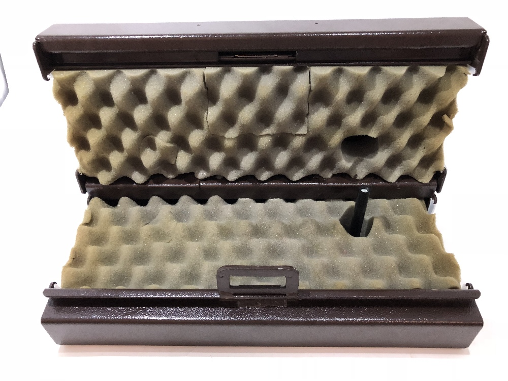 Lot 37 - A wall mounted Cabknoll gun clamp cabinet, with two keys.