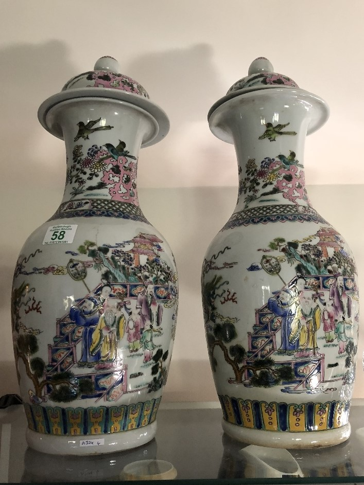 Lot 58 - A near pair of early 20th Century Chinese baluster shaped vases.