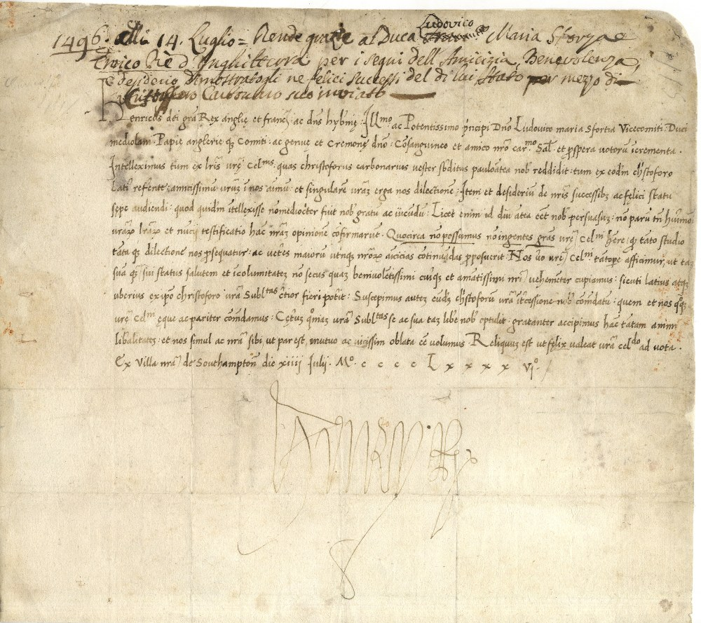 Lot 951 - A rare letter to Da Vinci's patron, with a full signature HENRY VII: (1457-1509) King of England