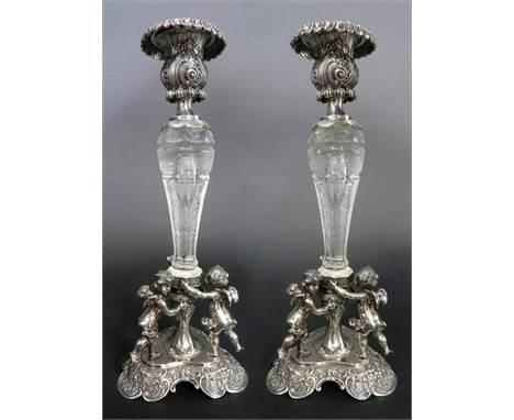 """A Pair Of 19th C. Figural Silver 800 German & Lobmeyr Crystal Candlesticks. H 12"""" x W 4"""""""
