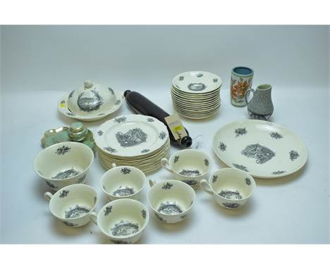 A Nailsea-style pattern rolling pin; a Crown Devon Lustrine Fieldings inkwell; Wedgwood Rex Whistler design tea cups, saucers