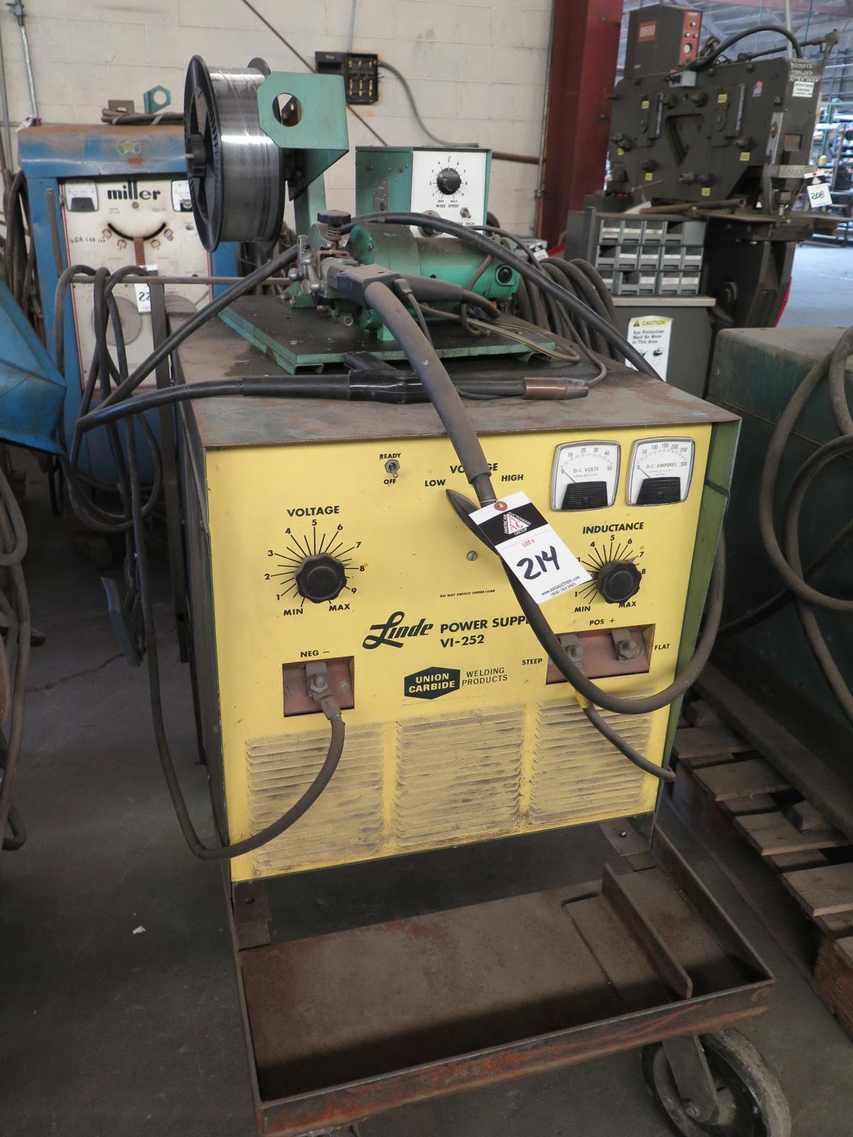 Lot 214 - Linde VI-252 Arc welding Power Source w/ Linde Wire Feeder