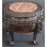 A 19th Century Chinese Carved Rosewood and Marble Top Stand, 58cm(h) x 67cm diam. to carved legs