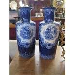 Two Losolte Ware Blue and White Vases