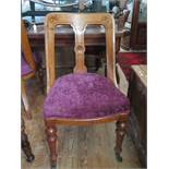 A Set of Six Victorian Oak Dining Chairs with new purple plush upholstery (matching salon suite next