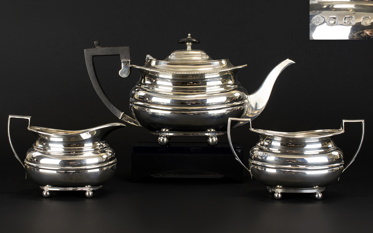 Lot 110 - George V Solid Silver 3 Piece Tea Servic