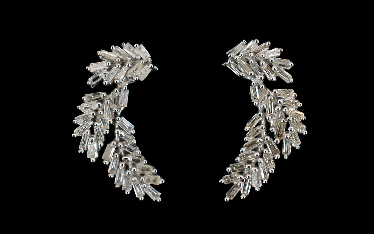 Lot 116 - Diamond Pair of Curved Leaf Earrings, ea