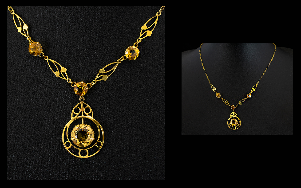Lot 32 - A 9ct Gold And Citrine Pendant Drop Neck
