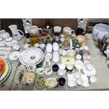 A collection of egg cups; & various Somerset & Gloucestershire commemorative items.