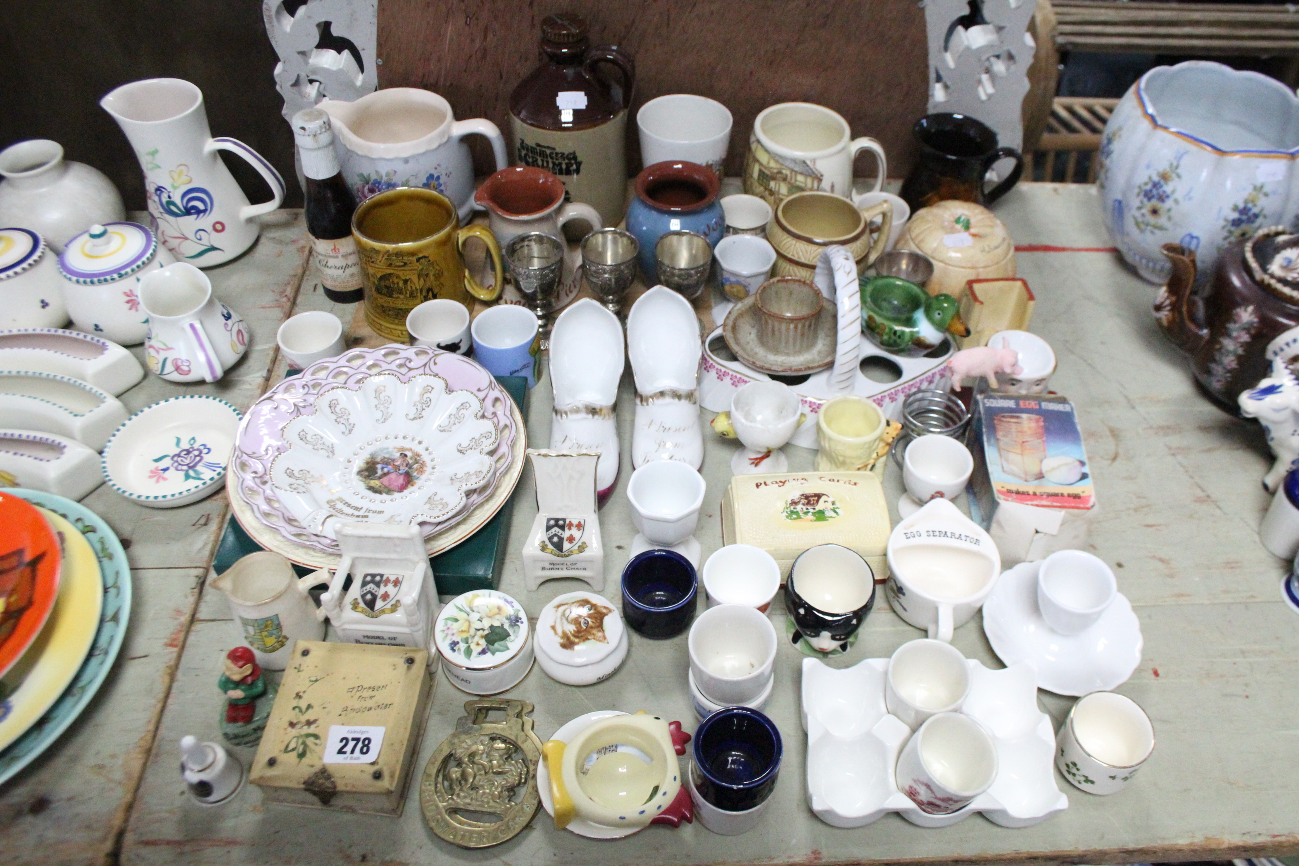 Lot 278 - A collection of egg cups; & various Somerset & Gloucestershire commemorative items.