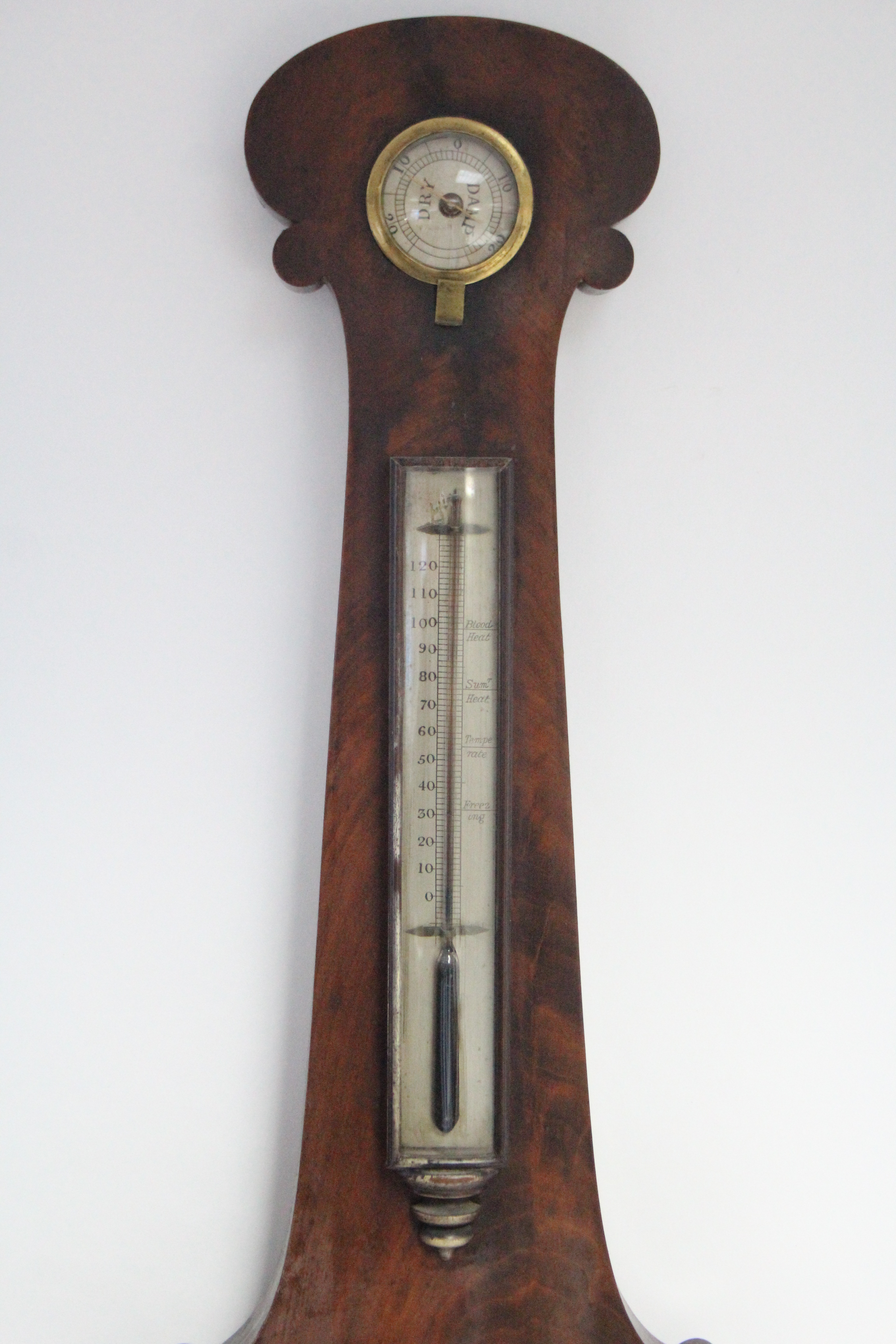 "Lot 367 - An early 19th century mahogany banjo barometer with 9½"" diam. silvered dial, inset hygrometer,"