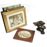 Eight decorative pictures; a composition oval wall plaque; & a set of kitchen scales, with weights.
