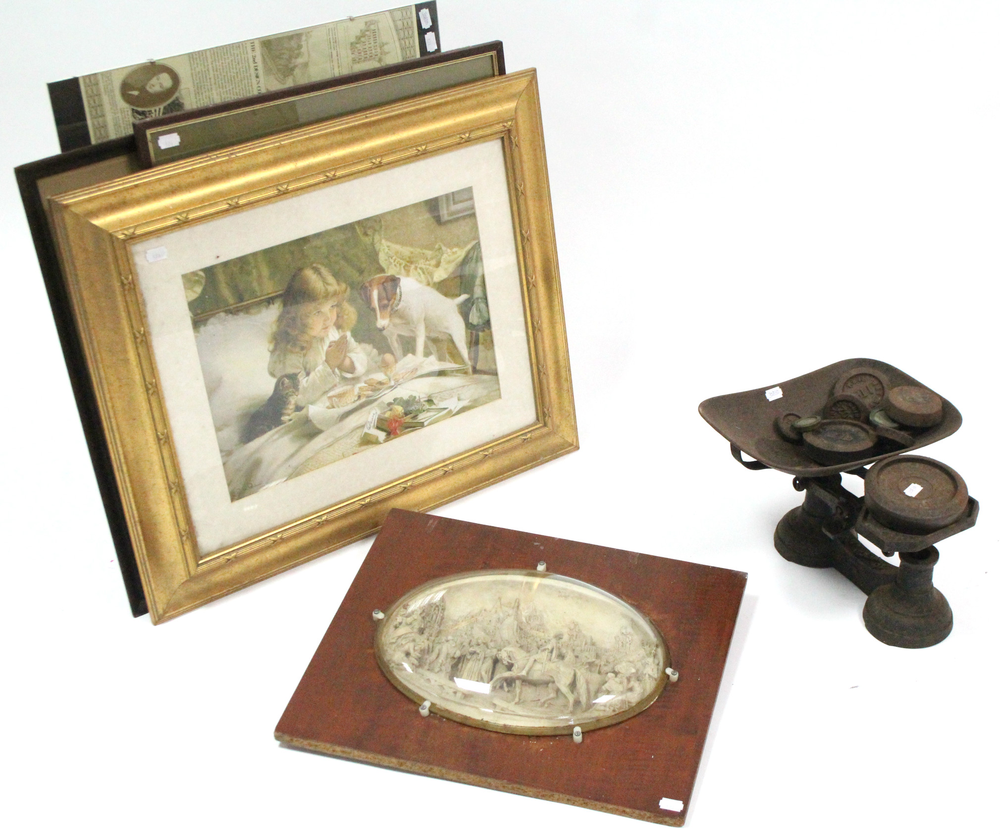 Lot 324 - Eight decorative pictures; a composition oval wall plaque; & a set of kitchen scales, with weights.