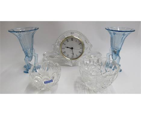 A Bohemia Czech Republic crystal glass mantel clock, two deco blue glass vases and two bowls including Marquis Waterford crys