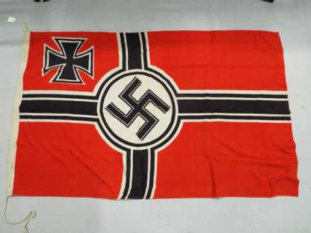 Lot 42 - A WWII (World War Two ) Third Reich war ensign (Reichkriegsflagge) ca 1938 - 1945 label marked