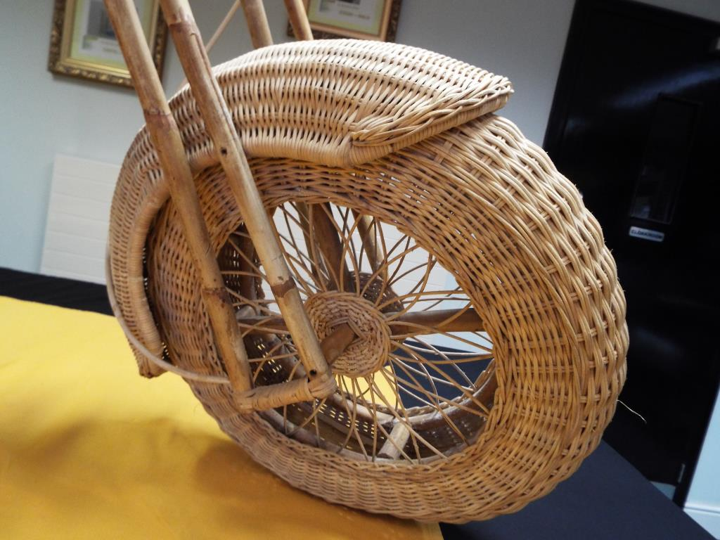 Lot 2 - Harley Davidson - a midcentury lifesize wicker and bamboo model of a Harley Davidson motorcycle,
