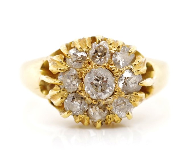 Victorian diamond and 18ct yellow gold ring - Image 4 of 8