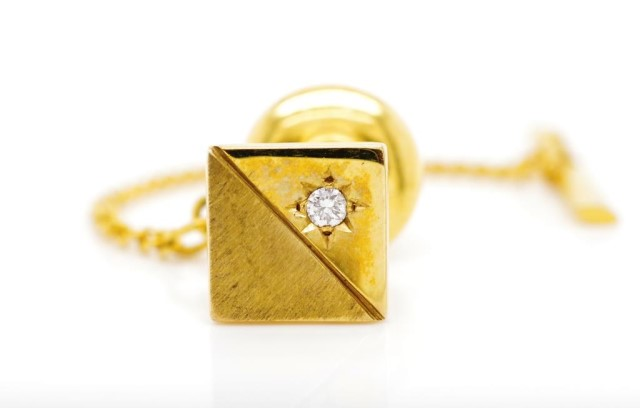 Vintage diamond and 9ct yellow gold tie tack