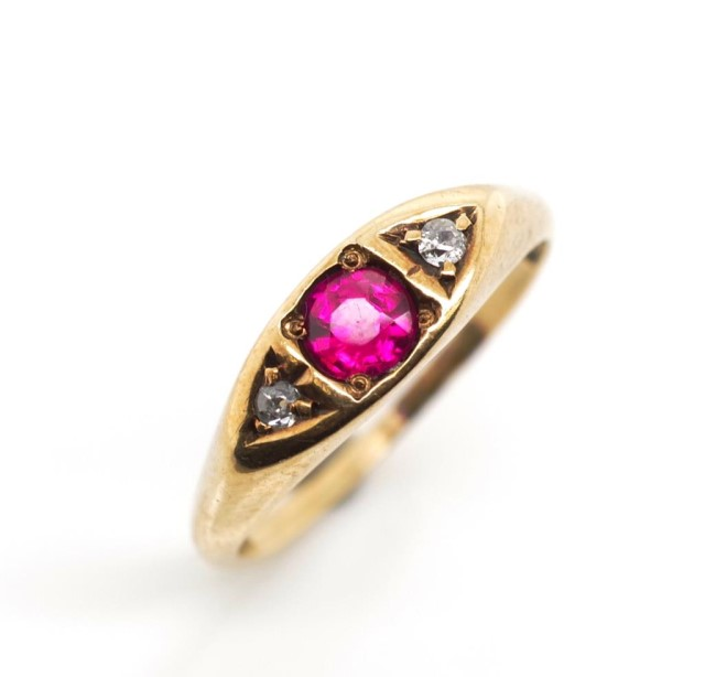 Antique diamond and 10ct rose gold ring - Image 3 of 6