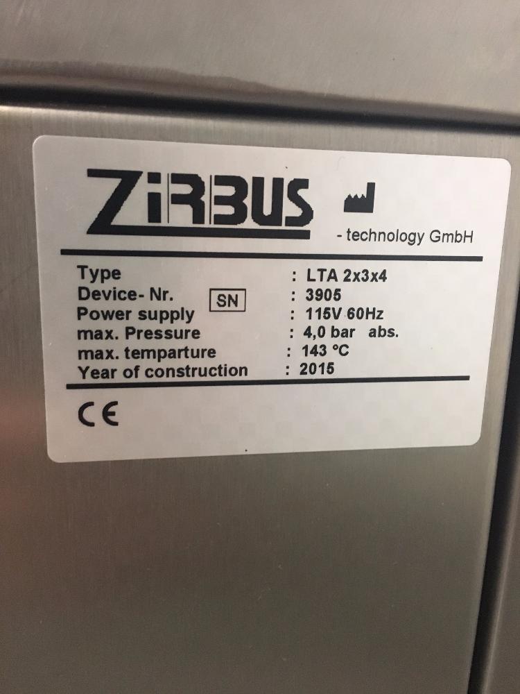 Lot 33 - ZirBus LTA 2x3x4 Laboratory Tabletop Autoclave