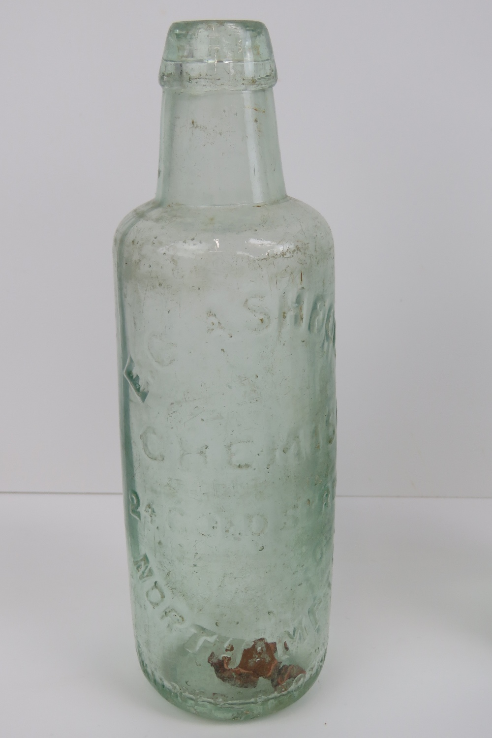 Lot 413 - A selection of vintage glass bottles including; an EC Ashford Chemist 24 Old Street Northampton,