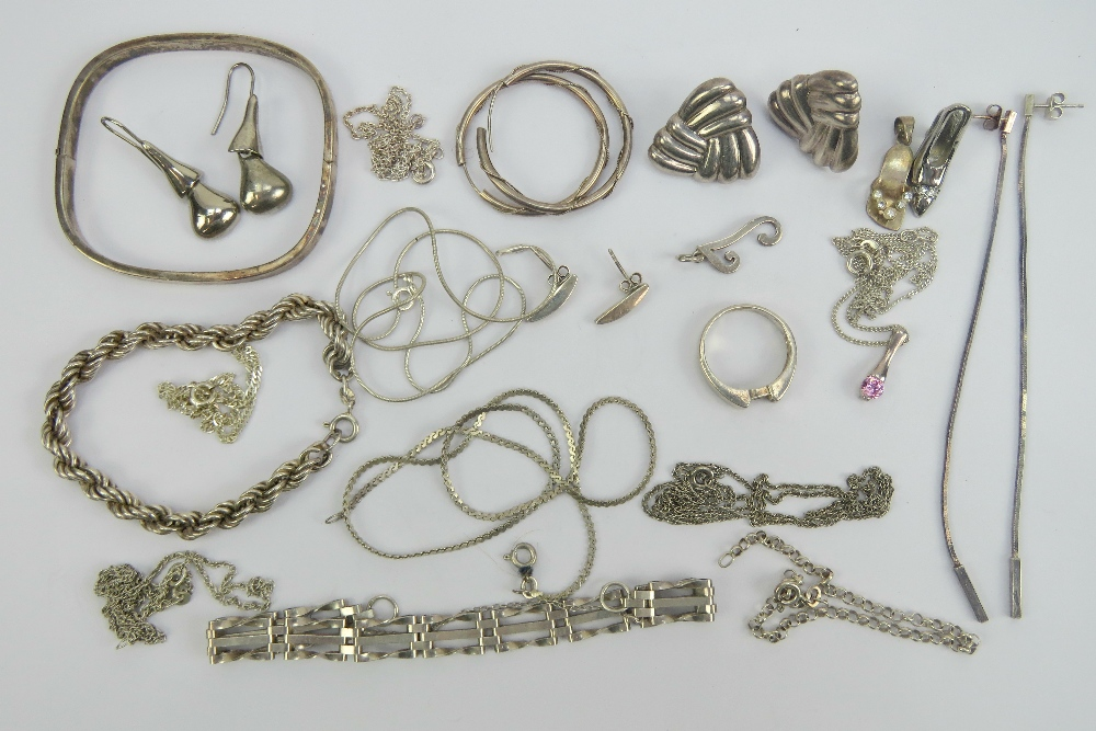 Lot 112 - A quantity of assorted silver and white metal jewellery including bangle, necklaces, bracelets,