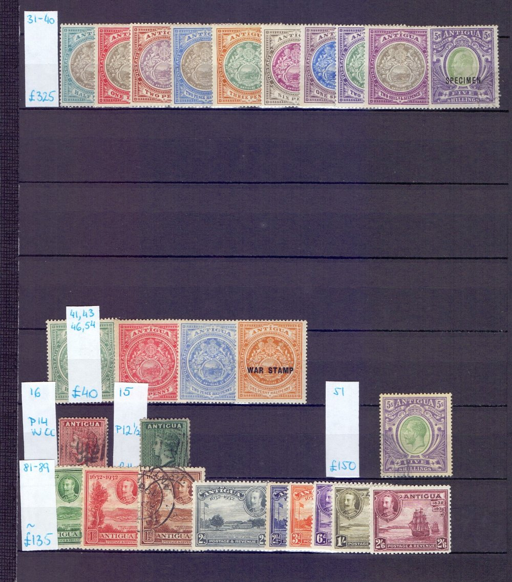 Lot 9 - STAMPS : BRITISH WEST INDIES, collection on double sided stock pages with Antigua 1913 5/- used,