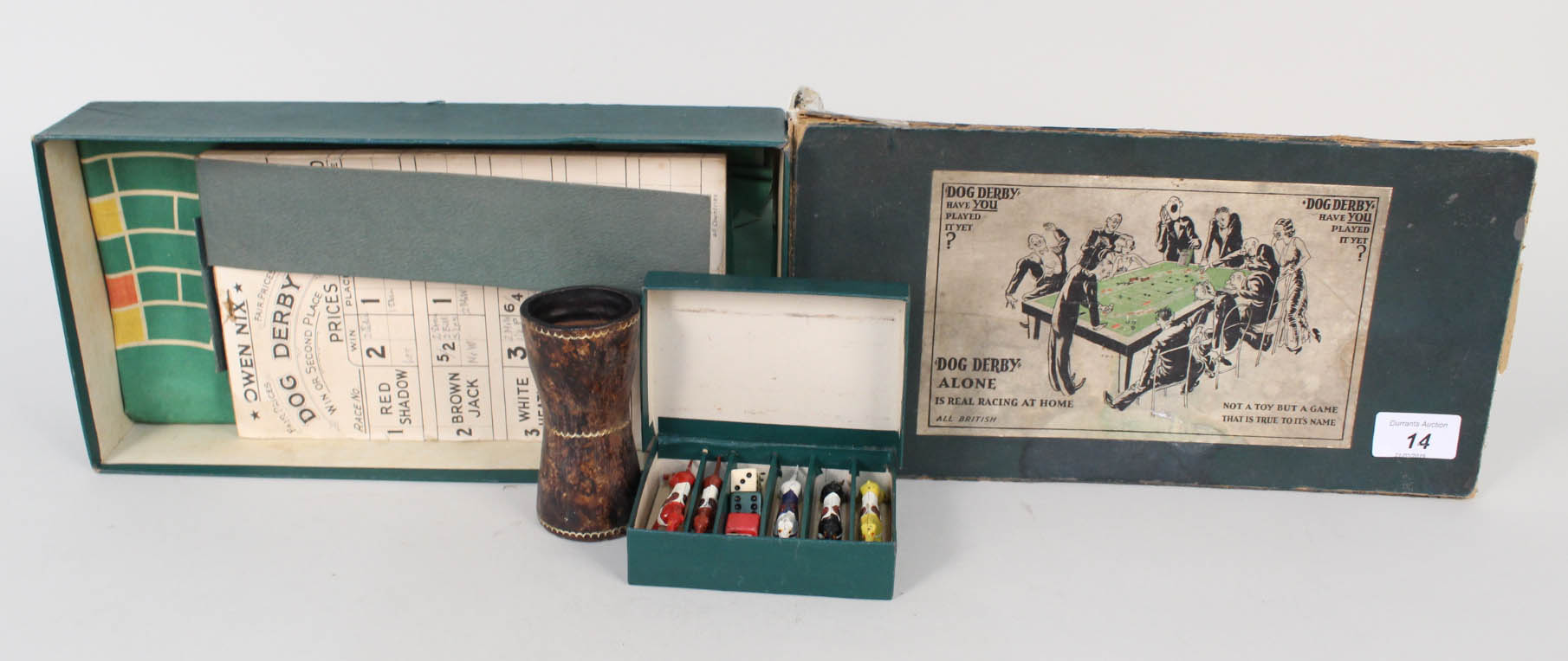 Lot 14 - Boxed Dog Derby Alone racing game with lead dogs