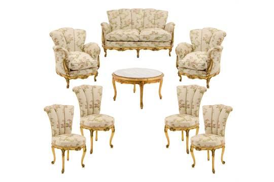 SALOTTO stile barocco a pozzetto in legno dorato composto da ...