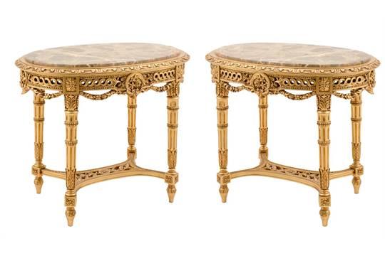 COPPIA TAVOLINI da salotto stile Luigi XVI in legno intagliato e ...