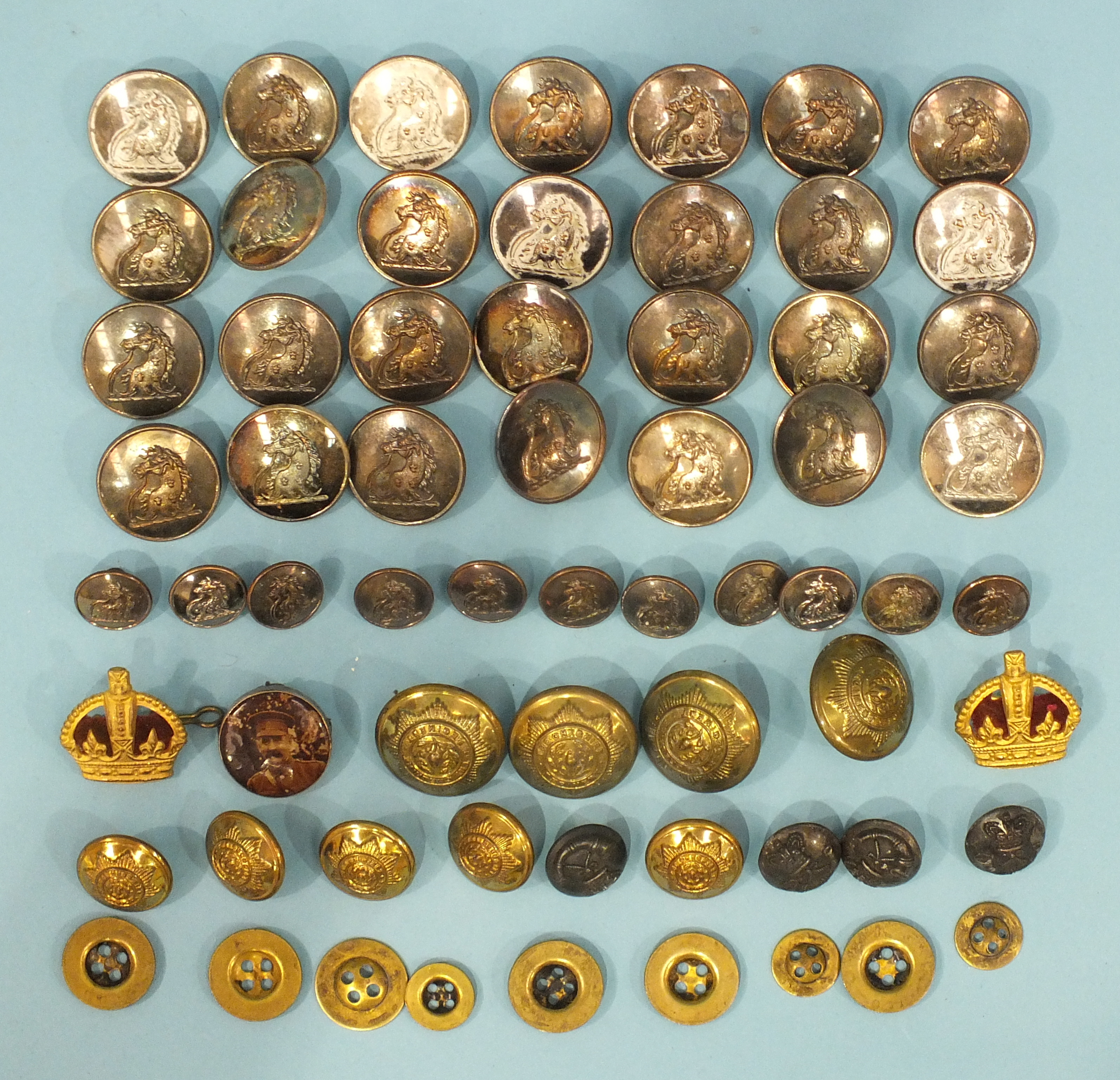 Lot 213 - A collection of silver-plated livery buttons marked 'Firmin & Sons Ltd, 10 St Martins Lane', with