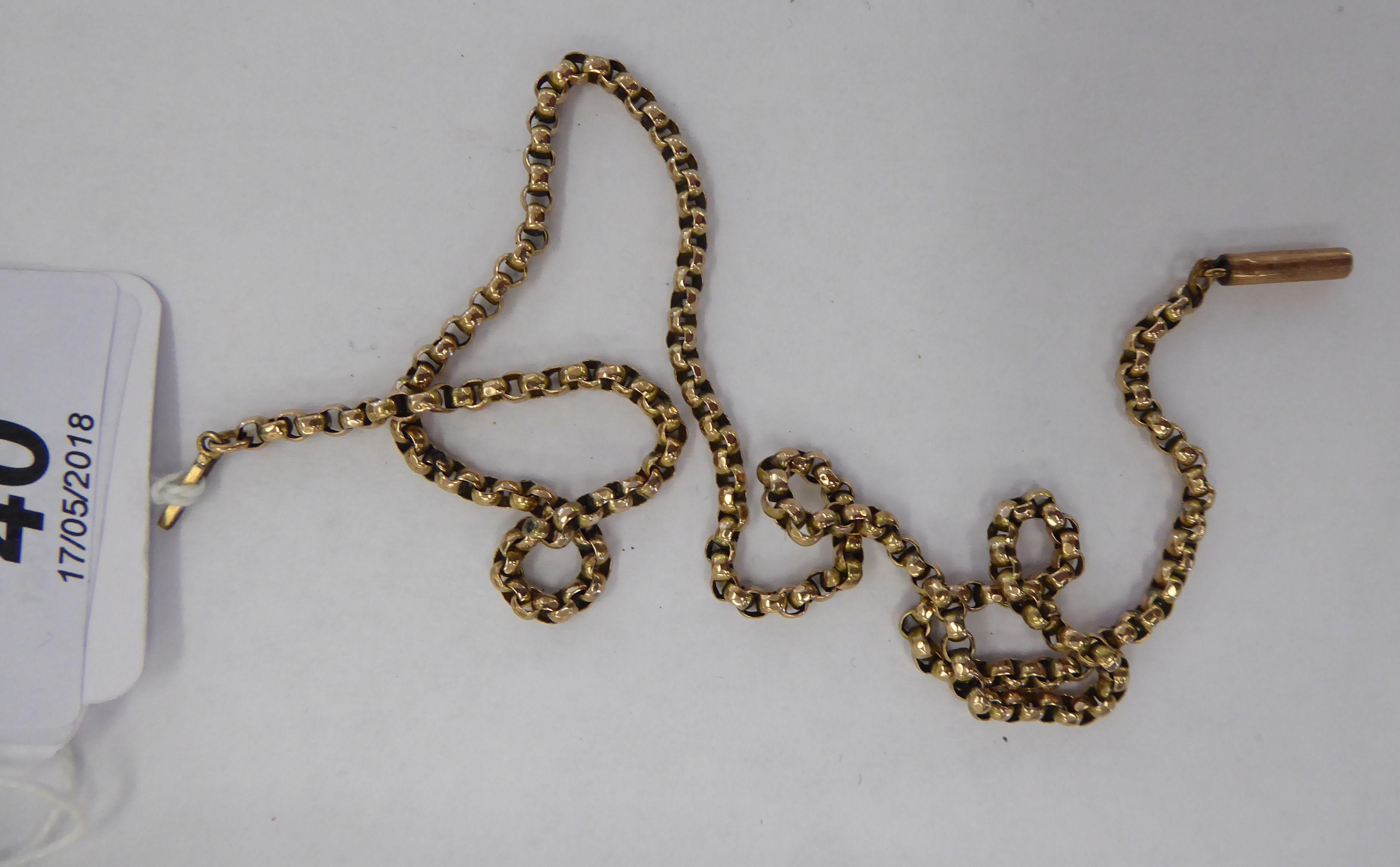 Lot 40 - An 'antique' 9ct gold belcher link neckchain 11
