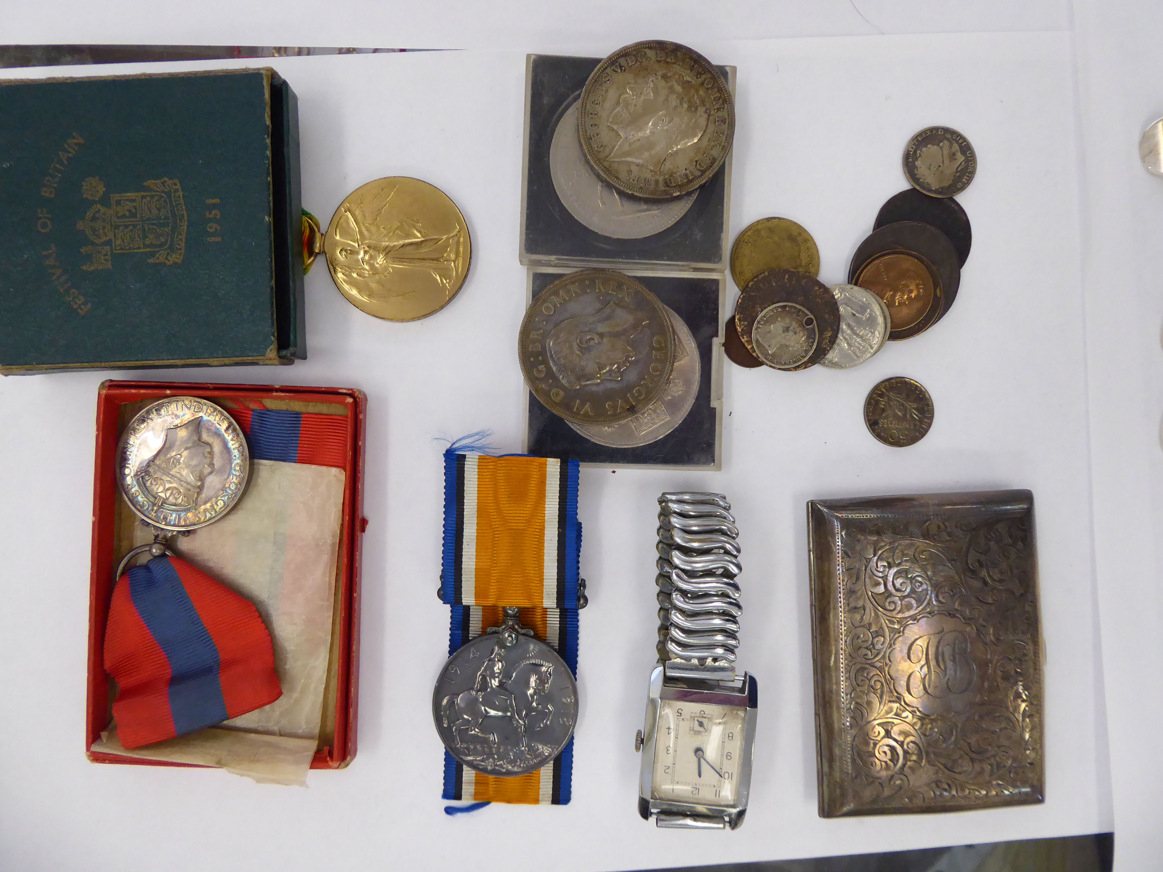 Lot 27 - Coins, silver collectables, watches and medals: to include two Great War medals,