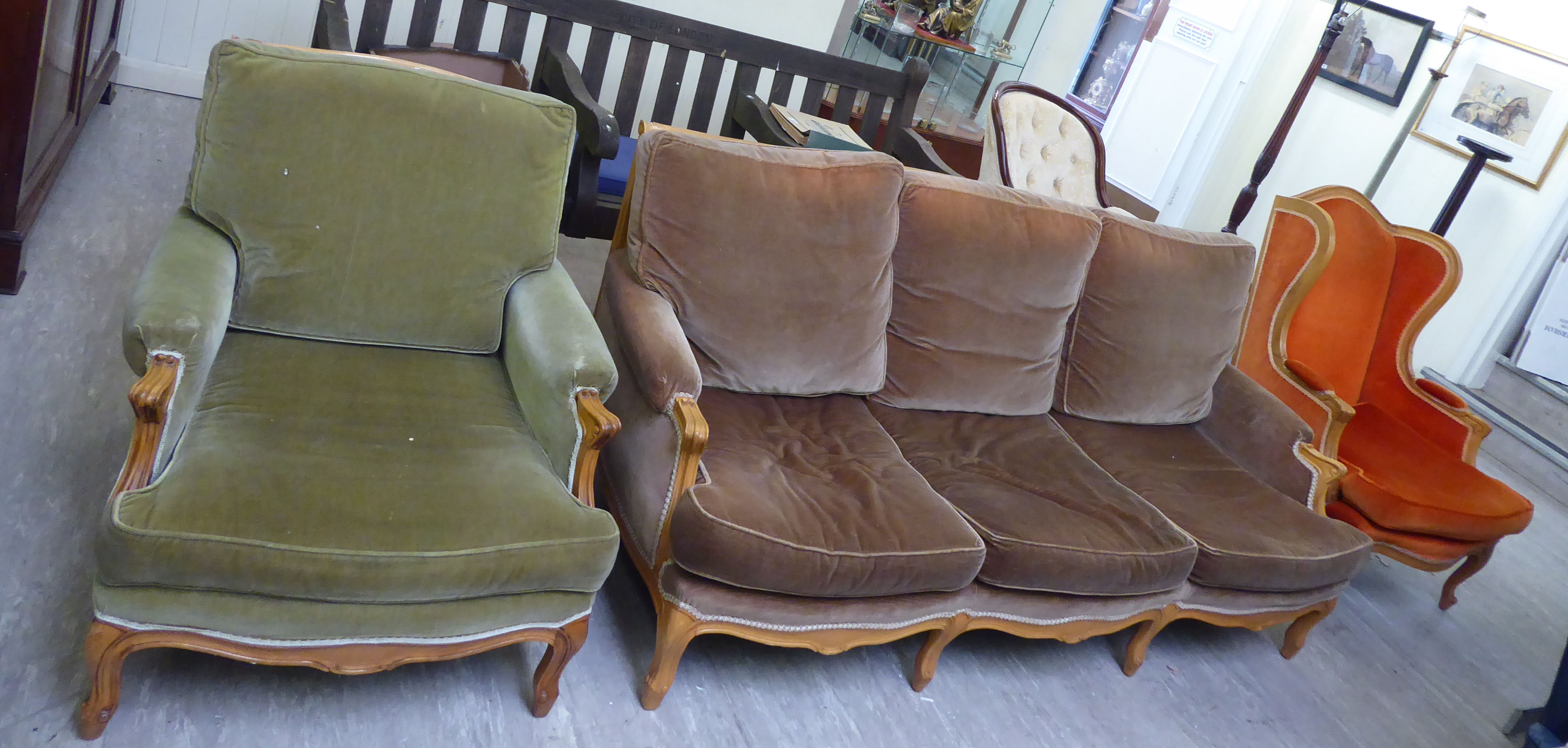Lot 23 - A modern Louis XVI design stained beech framed matched three piece suite,