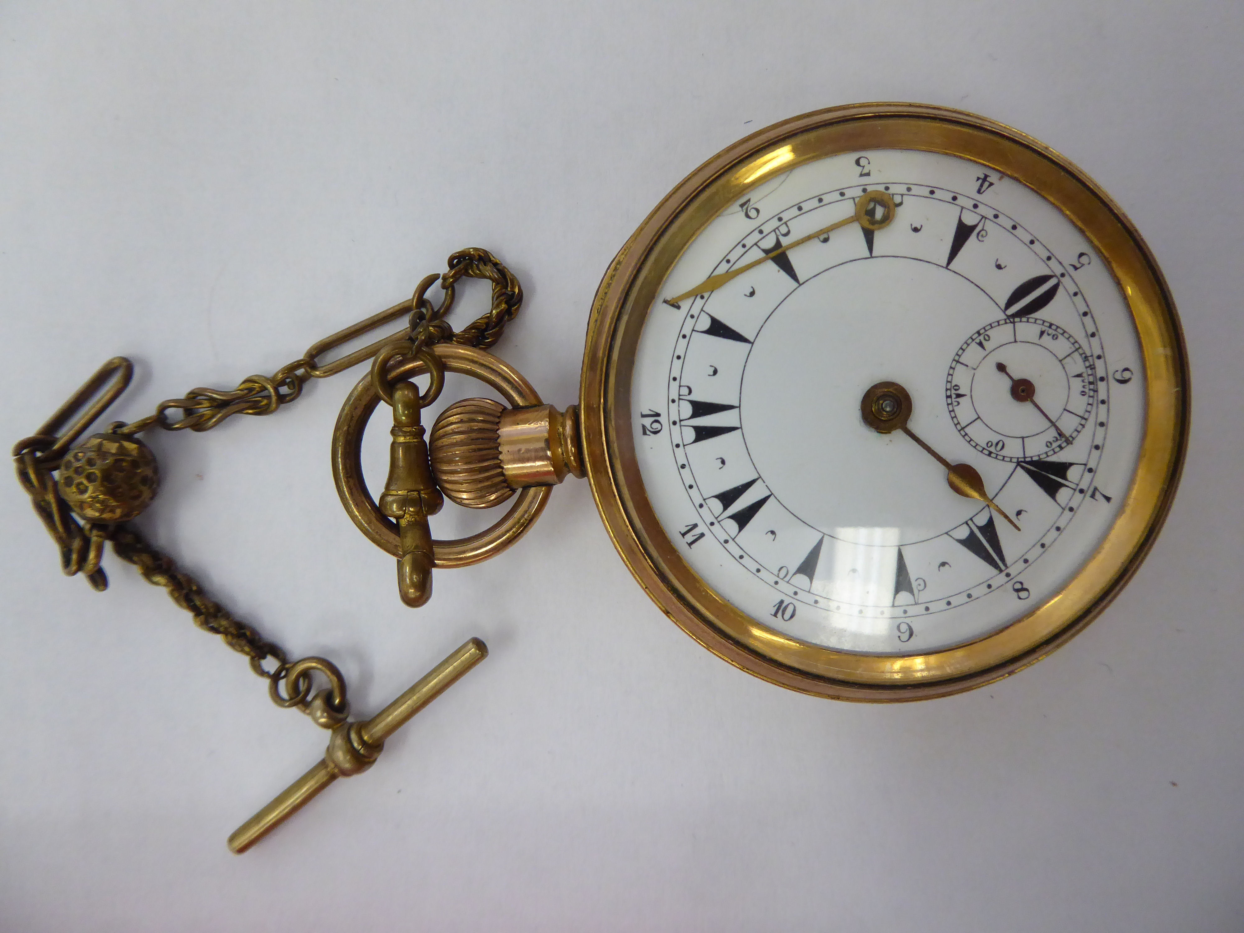 Lot 28 - A late Victorian gold plated pocket watch with an enamelled Arabic dial 11